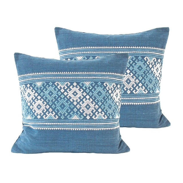 Blue & White Indigo Pillows - a Pair - Image 1 of 4