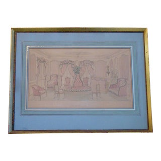 Architectural Watercolor Painting Rendering Drawing French Salon For Sale