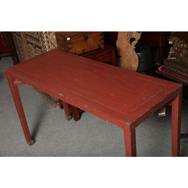 Wood Antique Linen Covered Red Lacquered Elmwood Console Table, 19th Century China For Sale - Image 7 of 11