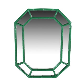 1970s Mid-Century Modern Green Lacquer Faux Bamboo Mirror