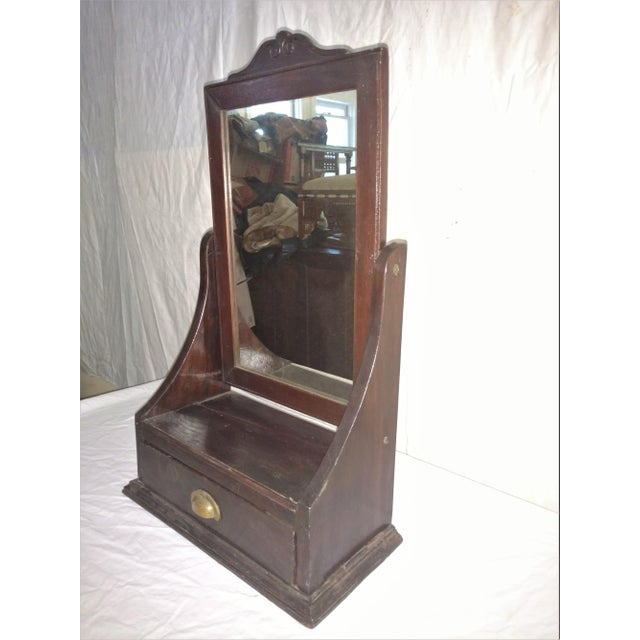1920s Antique Rosewood Shaving Mirror British Colonial Plantation Piece For Sale - Image 5 of 6