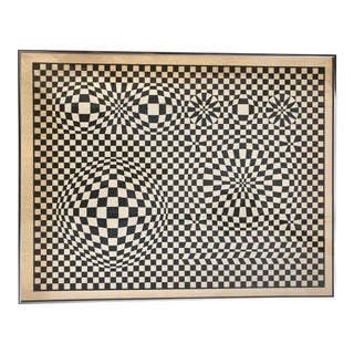 1970s Midcentury Victor Vasarely Op Art Bauhaus Custom Framed Lithograph For Sale