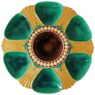1870s English Victorian Majolica Oyster Plate For Sale