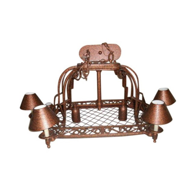 Late 20th Century Island Rustic Copper Kitchen Led Chandelier For Sale - Image 5 of 5