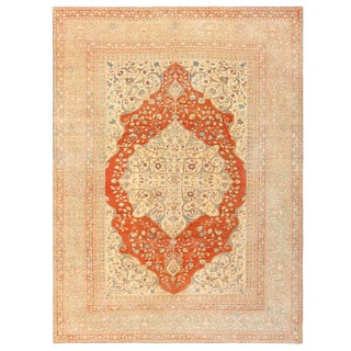 Antique Persian Medallion Tabriz Rug - 9′3″ × 12′4″ For Sale