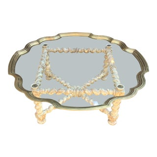 Baker Furniture Scalloped Brass Coffee Table For Sale