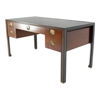 Teak Walnut Leather Top Executive Desk by Baker For Sale