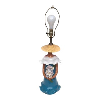 Glazed Ceramic Figurative Mexican Lady Table Lamp For Sale