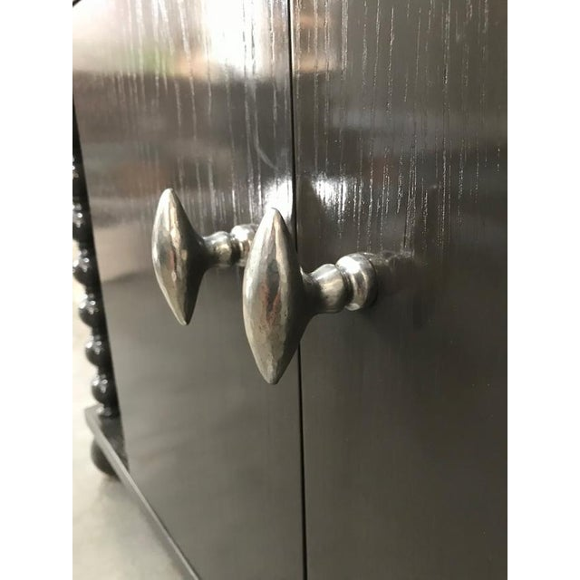Gray High Gloss Bar Cabinet For Sale - Image 8 of 10
