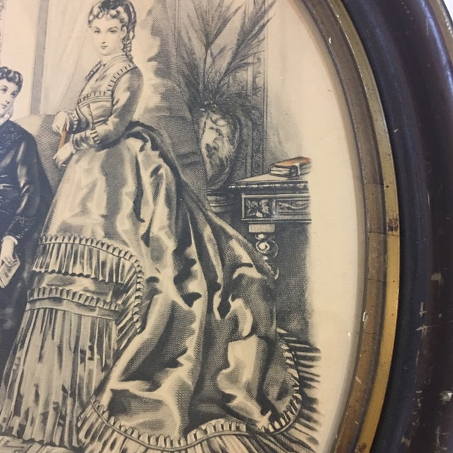 19th Century Oval Frame of French Fashions For Sale - Image 5 of 10
