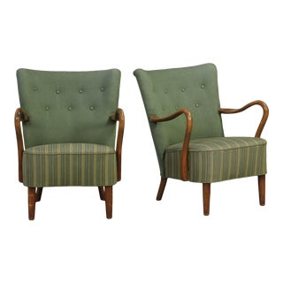 Alfred Christensen Green Armchairs- A Pair For Sale