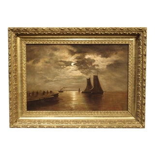 Small Antique Moonlight Marine Painting Oil on Canvas, 1913 For Sale