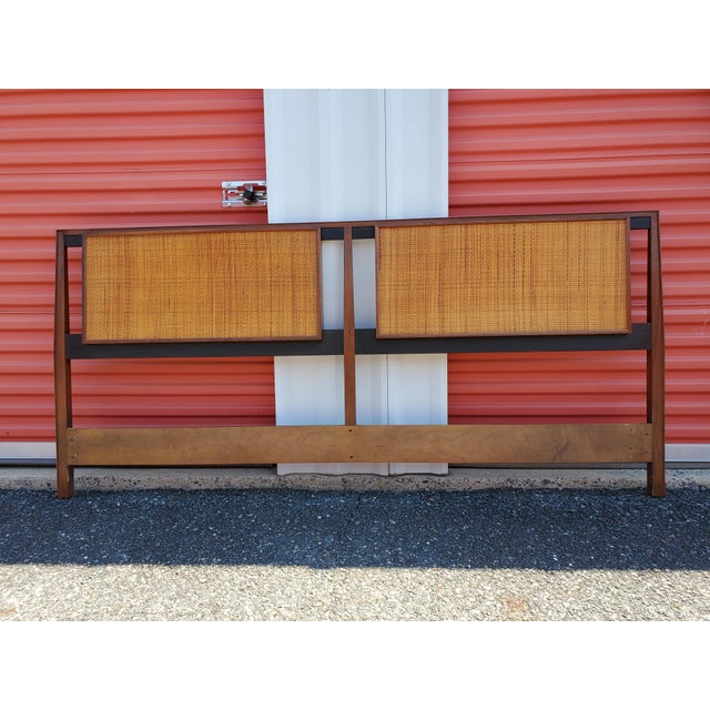 Mid-Century Modern Walnut and Cane King Headboard Designed by Kipp Stewart for Calvin For Sale - Image 9 of 9