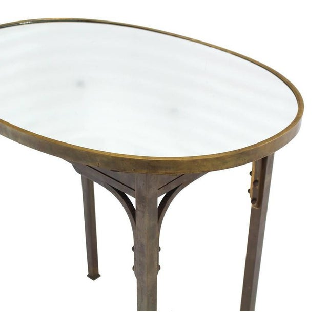 Solid Brass Mirror Top Oval Hall or Side Table For Sale - Image 4 of 7