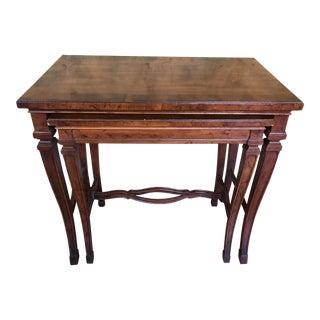 1980s Heritage Burl Walnut Nesting Tables - Set of 2 For Sale