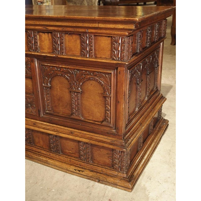 18th Century Walnut Wood Trunk from Italy For Sale - Image 4 of 11