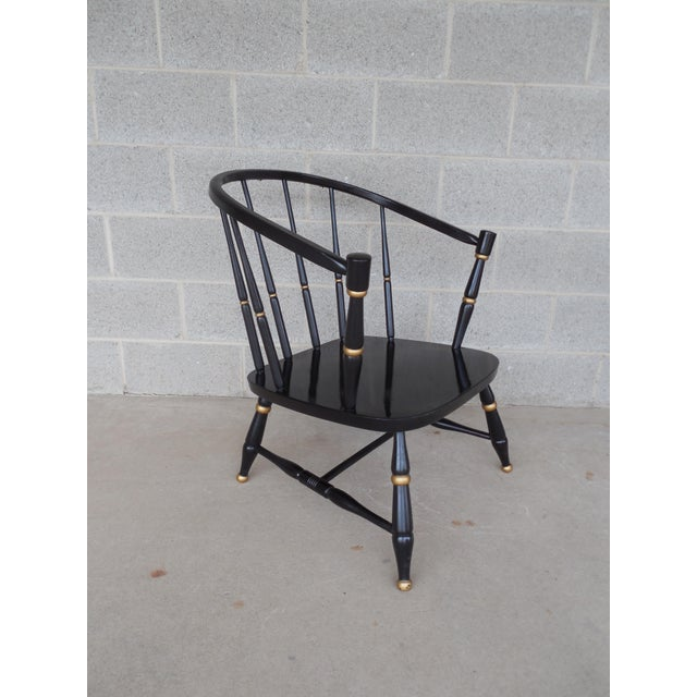 Rousseau Bros. Barrel Back Spindle Black Painted Club Chairs-A Pair For Sale - Image 4 of 11