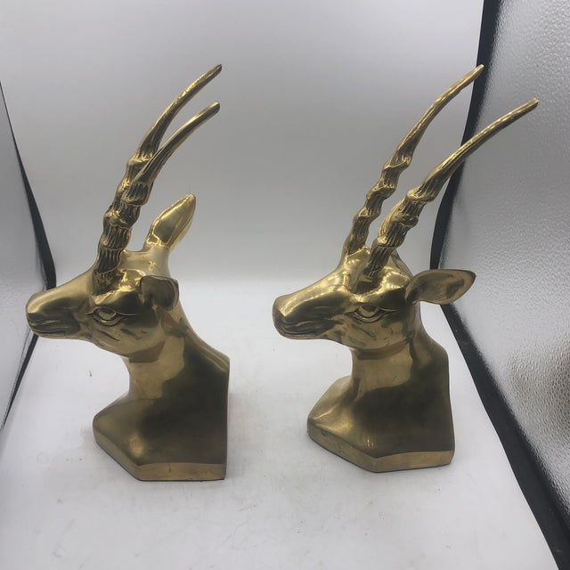 1980s Brass Antelope Bookends - a Pair For Sale - Image 5 of 11
