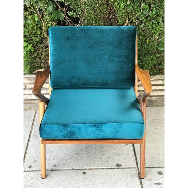 Mid Century Z Chair in Peacock Jade For Sale In Los Angeles - Image 6 of 13
