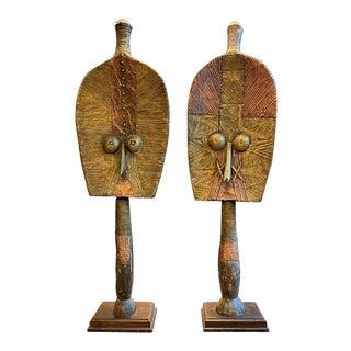 Bakota 'Kota' Funerary Figure from Gabon, Africa - A Pair For Sale