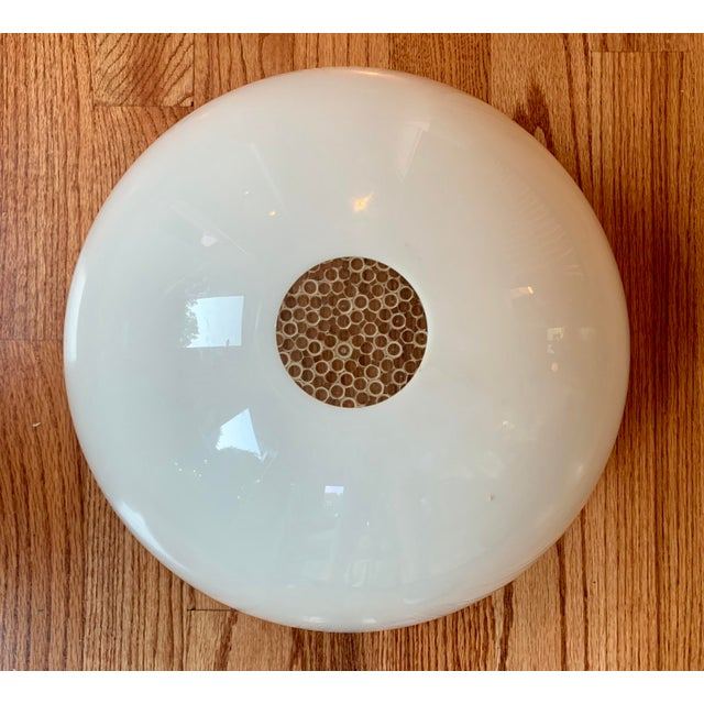 Mid Century Modern Opaque Resin Dome Pendant With Textured Light Diffuser For Sale - Image 4 of 9