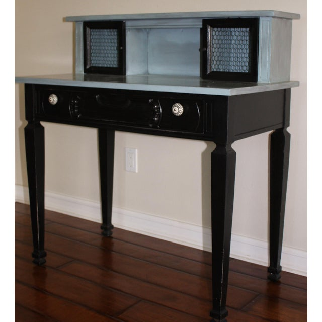 Vintage Black & French Blue Custom Painted Accent Desk, For Sale In Los Angeles - Image 6 of 11