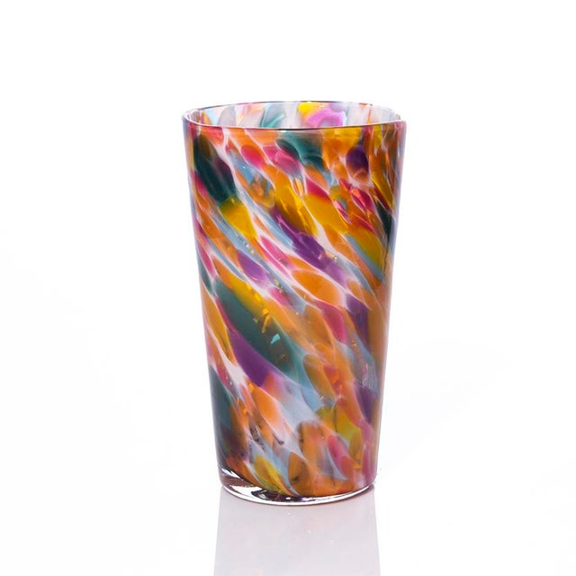 Modern Hand Blown Pint Glasses, Rainbow Mix with White - Set of 8 For Sale - Image 3 of 4