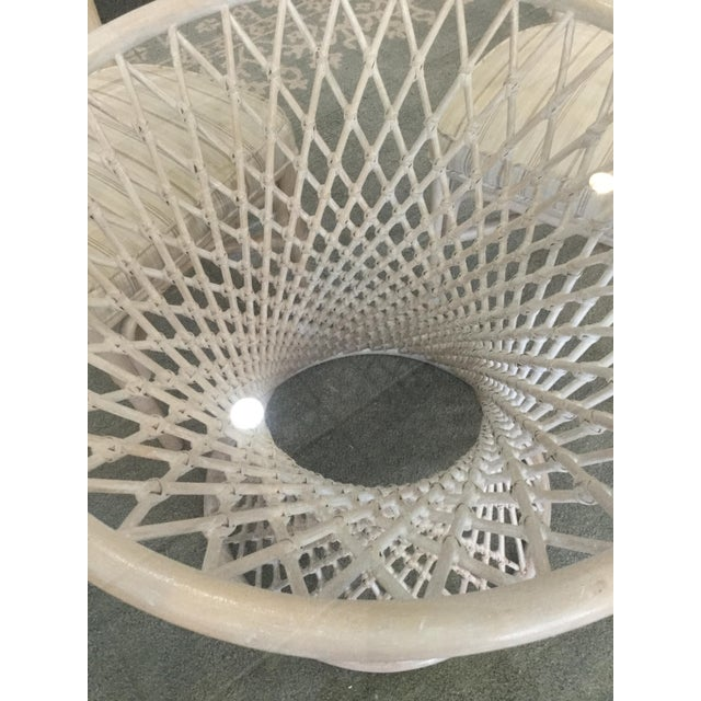 Antique White Vintage Bamboo Round Dining Table and Four Chairs For Sale - Image 8 of 11
