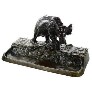 Austrian Bronze Elephant Sculpture Inkwell Stand For Sale