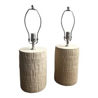 Farmhouse Pottery Faux Bois Lamps - a Pair