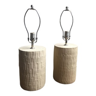 Farmhouse Pottery Hand Hewn Lamps - A Pair
