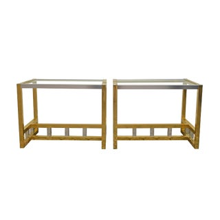 Vintage Brass and Chrome End Tables