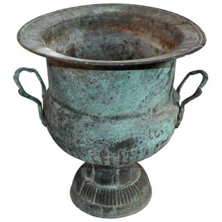 19th Century Urn With Handles in Patinated Copper Surface For Sale