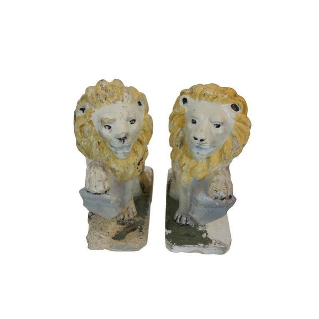 Traditional Painted Concrete Garden Lion Statues - a Pair For Sale - Image 3 of 9