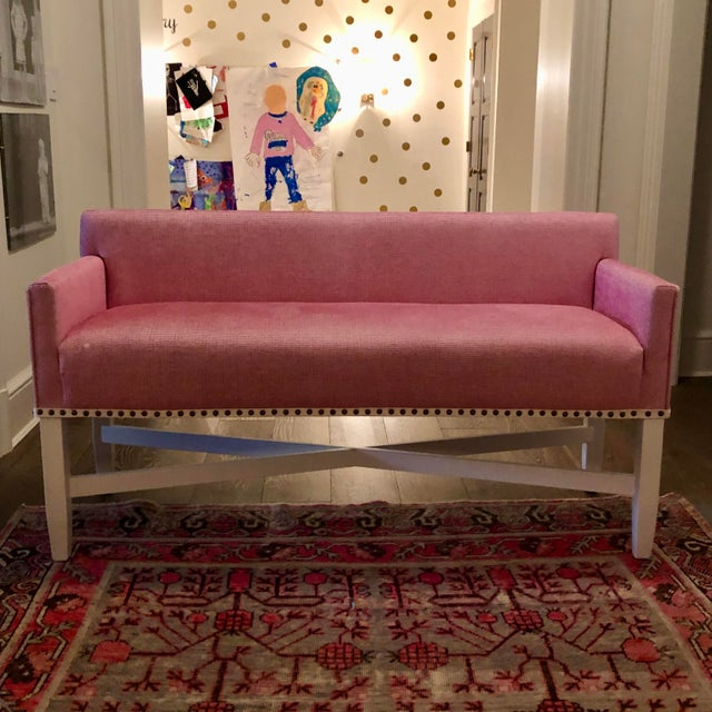 Traditional Pink Upholstered Oomph Tini X Bench For Sale - Image 3 of 13