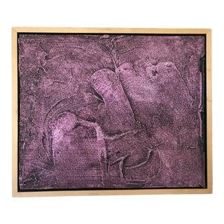 Vintage Mid-Century Modern Purple Abstract Plaster Wall Art Artwork For Sale