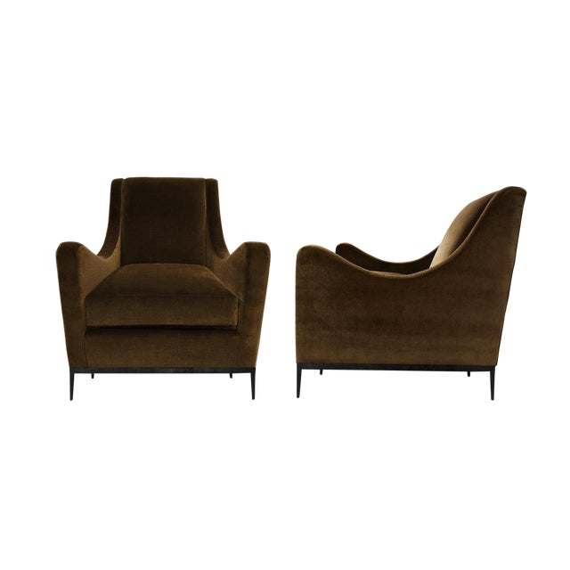 Vintage Mohair Upholstered Lounge Chairs - a Pair For Sale