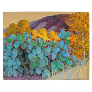 """""""Cactus in Fruit"""" Landscape Oil Painting, Late 20th Century"""