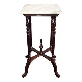 Vintage American French Country Burgundy Side Table White Marble Plant Stand For Sale