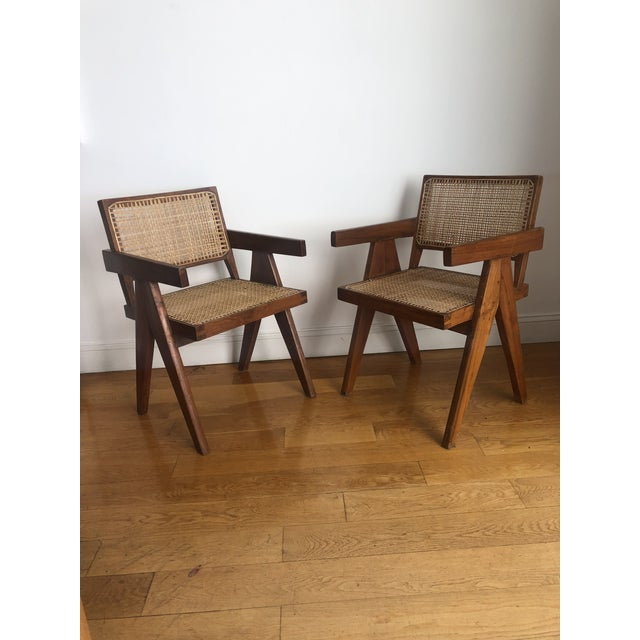 """set of 2"""" """"V-Leg"""" armchairs, c. 1955 from Chandigarh. 100% Authentic displaying its history with original patina."""