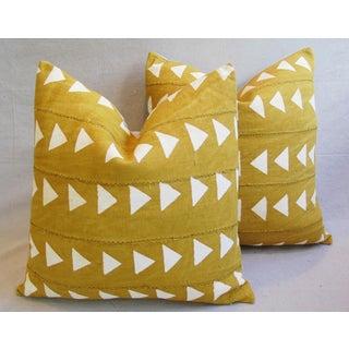 Gold & Cream Boho Chic African Mali Mud Cloth Tribal Textile Pillows - Pair Preview