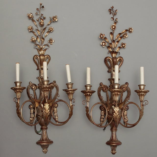 Vintage Italian Giltwood and Metal Sconces - Pair - Image 2 of 5