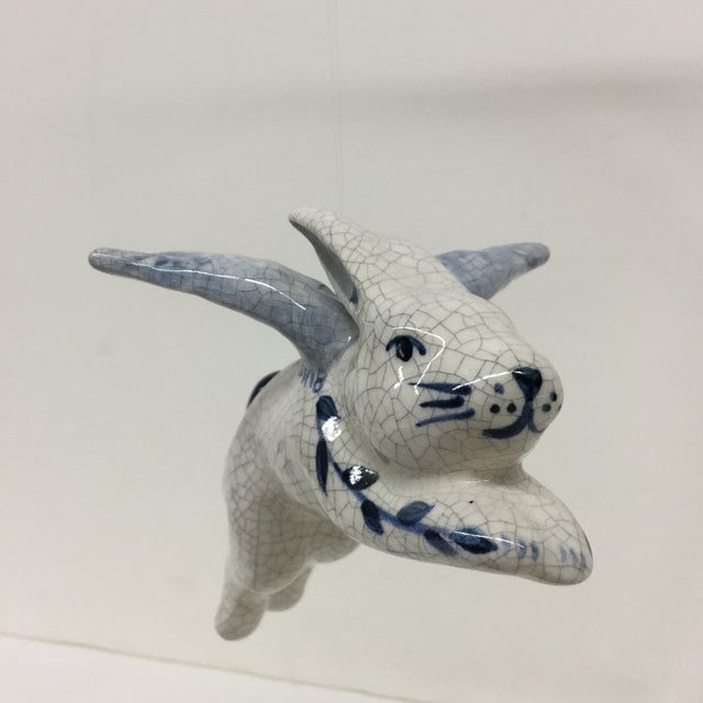 Hand Painted Artisan Ceramic Flying Rabbit For Sale - Image 4 of 11