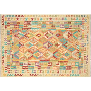 "Nalbandian - Contemporary Afghan Maimana Kilim - 6'8"" X 9'5"" For Sale"