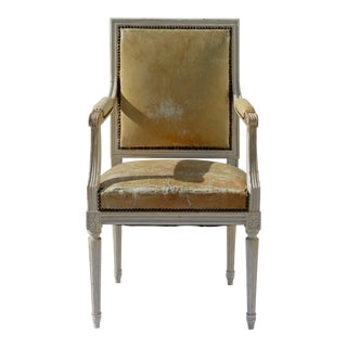 Painted French Louis XVI Desk Chair in Old Leather For Sale