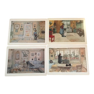 Cork Backed Swedish Home Interior Motif Placemats - Set of 4
