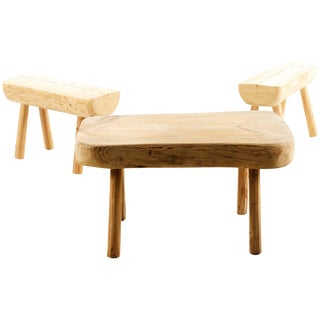 Swedish, Rustic Solid Wood Benches For Sale