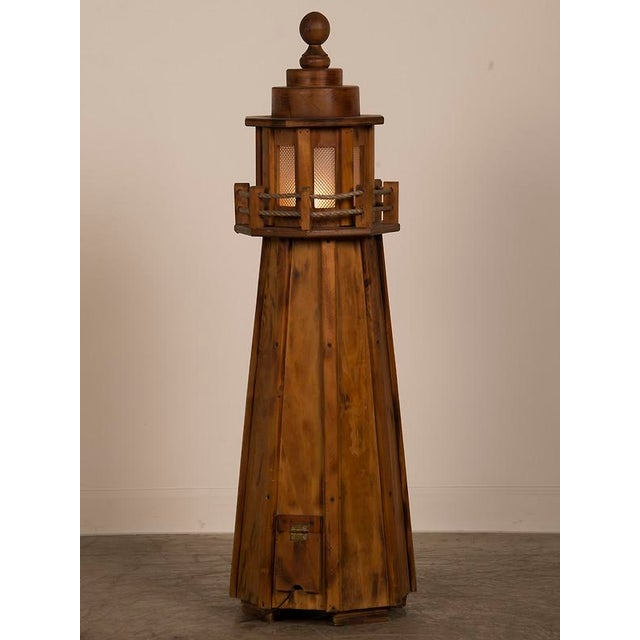 1950s Vintage French Handmade Wood Lighthouse Floor Lamp circa 1950 For Sale - Image 5 of 8