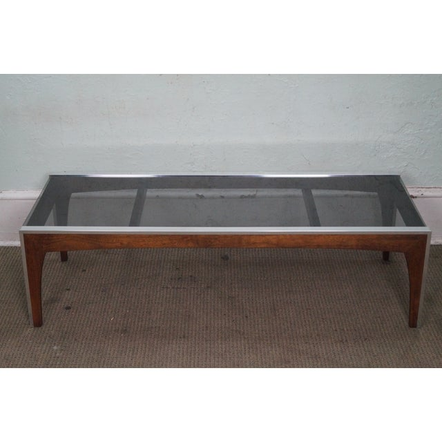 Mid Century Modern Chrome & Walnut Smoked Glass Coffee Table For Sale - Image 10 of 10