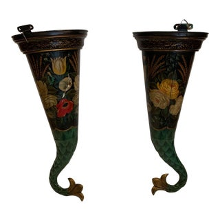 Painted French Told Wall Pockets - a Pair For Sale
